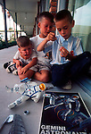 Launch of Apollo 11, first manned exploration of the moon. Children build a model of an astronaut the day before the launch. Titusvill, Florida, USA, July 15, 1969.