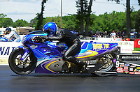 Jun. 2, 2012; Englishtown, NJ, USA: NHRA pro stock motorcycle rider Michael Phillips during qualifying for the Supernationals at Raceway Park. Mandatory Credit: Mark J. Rebilas-