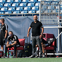 FOXBOROUGH, MA - JULY 25: USL League One (United Soccer League) match. New England Revolution II coach Clint Peay during a game between Union Omaha and New England Revolution II at Gillette Stadium on July 25, 2020 in Foxborough, Massachusetts.