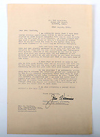 BNPS.co.uk (01202) 558833. <br /> Pic: C&TAuctions/BNPS<br /> <br /> Pictured: A letter sent to Joan from 242 Squadron sending Flight Sergeant Eric Redfern's Wings and expressing the hope that he may soon be discovered safe.  <br /> <br /> The poignant archive of a tragic Battle of Britain hero has been discovered in a suitcase.<br /> <br /> Flight Sergeant Eric Redfern had been married to Joan Preston for a few weeks when he was shot down and killed in 1941.<br /> <br /> The 27 year old Hurricane pilot was ambushed by German fighters during a raid on enemy supply vessels at Le Touquet in northern France.