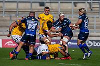 13th September 2020; AJ Bell Stadium, Salford, Lancashire, England; English Premiership Rugby, Sale Sharks versus Bath; Jean-Luc du Preez of Sale Sharks is tackled