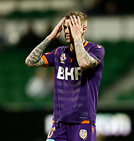 23rd May 2021; HBF Park, Perth, Western Australia, Australia; A League Football, Perth Glory versus Macarthur; Andy Keogh of Perth Glory reacts to his shot going wide
