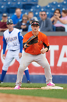 Frederick Keys first baseman Steve Laurino (28) waits for a throw during the first game of a doubleheader against the Wilmington Blue Rocks on May 14, 2017 at Daniel S. Frawley Stadium in Wilmington, Delaware.  Wilmington defeated Frederick 10-2.  (Mike Janes/Four Seam Images)