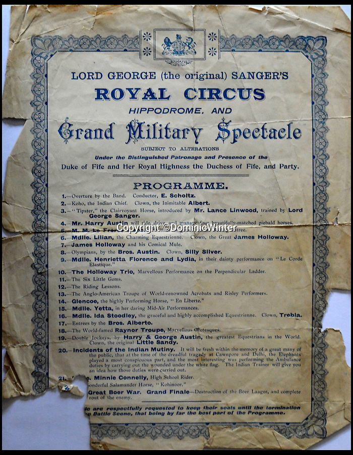 BNPS.co.uk (01202 558833)Pic: DominicWinter/BNPS<br /> <br /> Lord George Sanger's 'Great Military Spectacle' even included scenes from the Indian Mutiney and finished with the Boer War.<br /> <br /> These remarkable photos capture life in a 19th century touring circus which twice performed for the Queen.<br /> <br /> The collection of over 150 images tells the story of the circus of 'Lord' George Sanger who performed for Queen Victoria at Sandringham in 1885 and at Balmoral Castle in 1898. <br /> <br /> One remarkable photo shows the whole troupe of 30 performers in front of the circus ring with the acrobats forming a three people high human pyramid in the background.<br /> <br /> Tragically, in 1911 Sanger was murdered with a hatchet at his home at Park Farm, Finchley, by employee Herbert Charles Cooper, who then committed suicide.