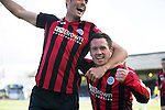 Dundee v St Johnstone...25.04.15   SPFL<br /> Danny Swanson celebrates his goal with Brian Graham<br /> Picture by Graeme Hart.<br /> Copyright Perthshire Picture Agency<br /> Tel: 01738 623350  Mobile: 07990 594431