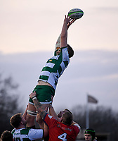 20th February 2021; Trailfinders Sports Club, London, England; Trailfinders Challenge Cup Rugby, Ealing Trailfinders versus Doncaster Knights; James Cannon of Ealing Trailfinders reaches for the lineout ball