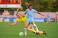 Natasha Kai (6) of Sky Blue FC is called for a foul on Allison Falk (3) of the Philadelphia Independence. Sky Blue FC defeated the Philadelphia Independence 1-0 during a Women's Professional Soccer (WPS) match at Yurcak Field in Piscataway, NJ, on August 22, 2010.