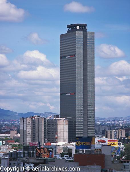 aerial photograph of PEMEX, Petróleos Mexicanos, headquarters tower, Mexico City