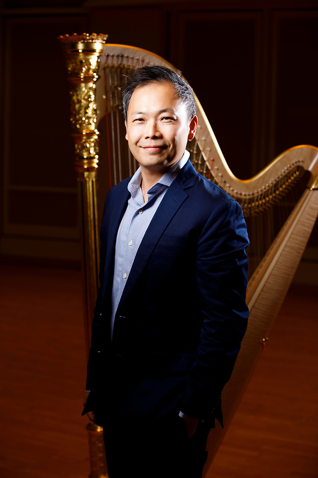 USA International Harp Competition Board of Directors member Charles Lin poses for a portrait during the 11th USA International Harp Competition at Indiana University in Bloomington, Indiana on Saturday, July 13, 2019. (Photo by James Brosher)