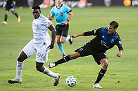 SAN JOSE, CA - NOVEMBER 04: Jesus David Murillo #94 of the Los Angeles FC challenges Chris Wondolowski #8 of the San Jose Earthquakes during a game between Los Angeles FC and San Jose Earthquakes at Earthquakes Stadium on November 04, 2020 in San Jose, California.