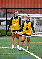 17 April 2021: University of Vermont Catamount Attacker Taylor Mullen, a Junior from Delray Beach, FL, and Midfielder Jen Williams, a Junior from St. Louis, MO, stand together during warms-up prior to game action against the UMBC Retrievers at Virtue Field in Burlington, Vermont. The Lady Cats fell to the Retrievers 11-8 in the America East Women's Lacrosse matchup. Mandatory Credit: Ed Wolfstein Photo *** RAW (NEF) Image File Available ***