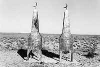 Kazakhstan. On the road to Bugin. Muslim tomb with half-moon signs for two brothers who die during World War II. The family does not know where they were killed and their bodies were never recovered. Bugin is located in the Kyzyl Orda Province. © 2008 Didier Ruef .. ..