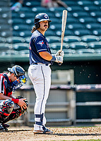 6 June 2021: New Hampshire Fisher Cats outfielder Brock Lundquist in action against the Binghamton Rumble Ponies at Northeast Delta Dental Stadium in Manchester, NH. The Rumble Ponies defeated the Fisher Cats 9-6 to close out their 6-game series. Mandatory Credit: Ed Wolfstein Photo *** RAW (NEF) Image File Available ***