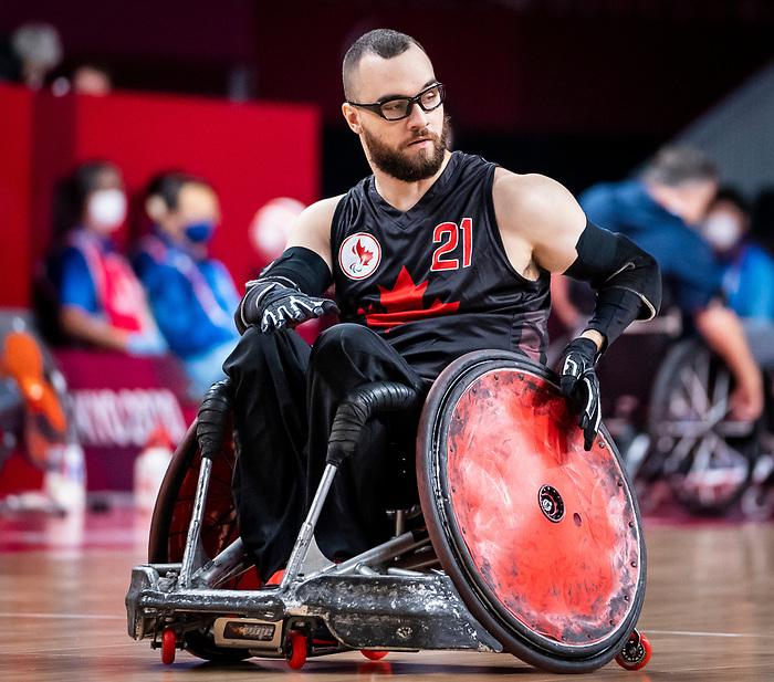 Anthony Letourneau, Tokyo 2020 - Wheelchair Rugby // Rugby en fauteuil roulant.<br /> Canada takes on The USA in the preliminary round // Le Canada affronte Les Etats-Unis d'Amérique au tour préliminaire. 26/08/2021.