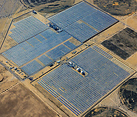 aerial photo of a solar farm in the Mojave desert, California