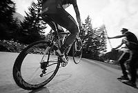 2013 Giro d'Italia.stage 10..Spanish champion Francisco José Ventoso (ESP) pulling a wheelie up the Sella Nevea.