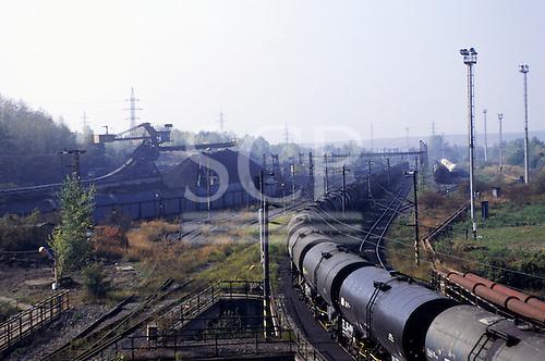 Most, Czech Republic. Long goods train.