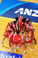 The England team huddles before the Cadbury Netball Series Taini Jamison Trophy match between New Zealand Silver Ferns and England Roses at Claudelands Arena in Hamilton, New Zealand on Wednesday, 28 October 2020. Photo: Dave Lintott / lintottphoto.co.nz
