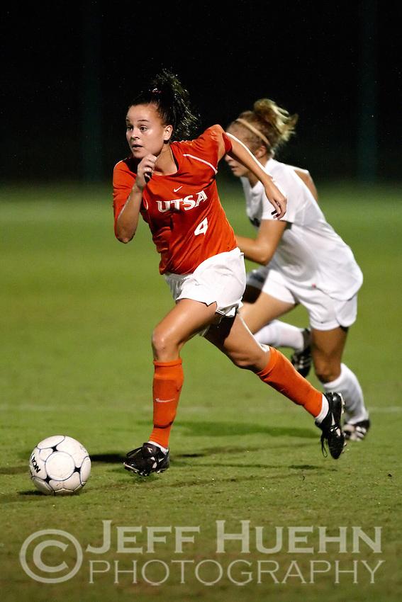 SAN ANTONIO , TX - SEPTEMBER 11, 2009: The Utah State University Aggies vs. The University of Texas At San Antonio Roadrunners Women's Soccer at the UTSA Soccer Field. (Photo by Jeff Huehn)