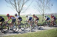 Fabian Cancellara (SUI/Trek-Segafredo) riding the Haaghoek cobbles in the bunch<br /> <br /> 100th Ronde van Vlaanderen 2016