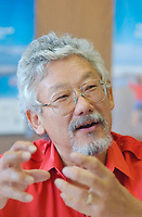 2001 File photo of <br /> <br /> Dr David Suzuki on the launching day of the Quebec clean air campaign (campagne d'air pur au Quebec).<br /> <br /> David T. Suzuki PhD, the Chair of the David Suzuki Foundation, is an award-winning scientist, environmentalist and broadcaster.<br /> David has received consistently high acclaim for his thirty years of award-winning work in broadcasting, explaining the complexities of science in a compelling, easily understood way. He is well known to millions as the host of the Canadian Broadcasting Corporation's popular science television series, The Nature of Things. <br /> <br /> David has received numerous awards for his work, including a UNESCO prize for science, a United Nations Environment Program medal and the Order of Canada<br /> <br /> Photo by Sevy-IMAGES DISTRIBUTION <br /> <br /> NOTE :  D-1 H original JPEG, saved as Adobe 198 RGB