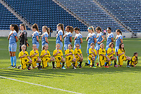 Bridgeview, IL - Sunday September 03, 2017: Chicago Red Stars Starting XI, player escorts during a regular season National Women's Soccer League (NWSL) match between the Chicago Red Stars and the North Carolina Courage at Toyota Park. The Red Stars won 2-1.
