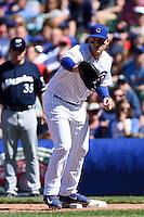 Chicago Cubs first baseman Anthony Rizzo (44) catches a throw for a force out during a game against the Milwaukee Brewers on August 14, 2014 at Wrigley Field in Chicago, Illinois.  Milwaukee defeated Chicago 6-2.  (Mike Janes/Four Seam Images)