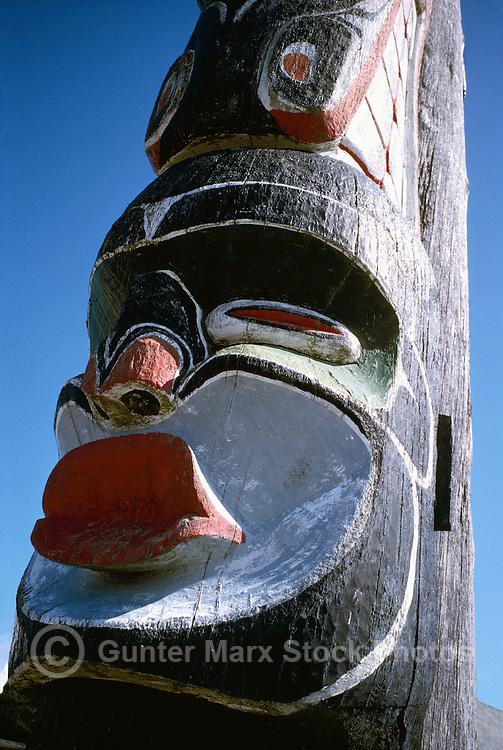 Kwakwaka'wakw (Kwakiutl) Memorial Totem Pole, on Namgis Burial Grounds, Alert Bay, Cormorant Island, BC, British Columbia, Canada - Dzoonokwa Figure (Wild Woman of the Woods)