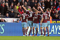 Pictured: Andy Carroll (9) of West Ham celebrating his opening goal Saturday 10 January 2015<br /> Re: Barclays Premier League, Swansea City FC v West Ham United at the Liberty Stadium, south Wales, UK