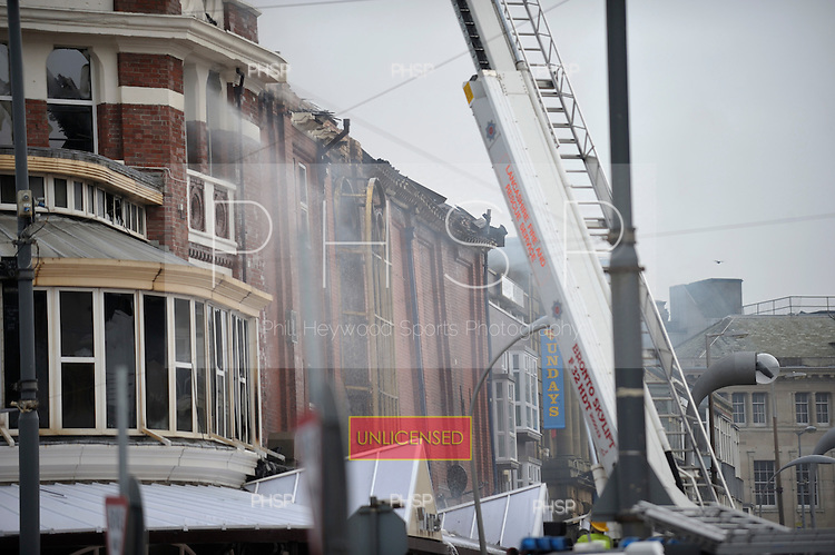 Yates's Fire 15/02/09..Damage to the Clifton St elevation of Yates's,Talbot Sq Blackpool