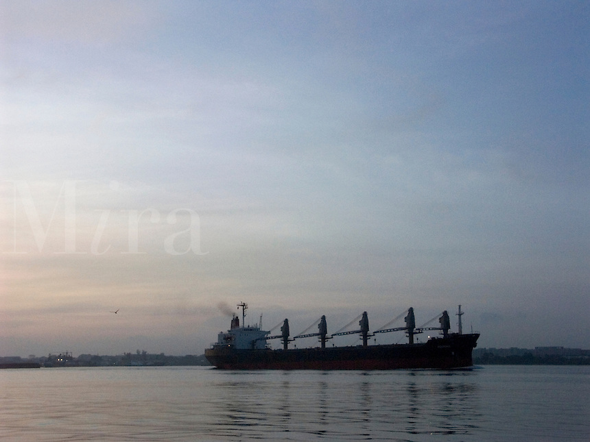 January, 2004 Cargo ships passing by the island of Singapore