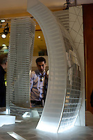 "milano, modellini dei grattacieli per il futuro quartiere citylife in zona fiera --- milan, small scale models of the skyscrapers for the  new ""Citylife"" district currently under construction on the ""fiera"" area"