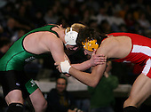 John Greisheimer (VIII) and Donnie Vison (IV) square off in the NY State Division One finals at the 145 weight class during the NY State Wrestling Championship finals at Blue Cross Arena on March 9, 2009 in Rochester, New York.  (Copyright Mike Janes Photography)