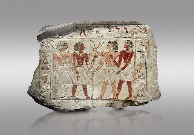 Ancient Egyptian stele of  2 pairs of archers of different ethnic groups, limestone, First Inttermediate Period, (2118-1980 BC), Goblein, Tomb of iti and Neferu, 88967-960-Senebetysy-Stele-Ancient-Egypt Egyptian Museum, Turin. Grey background.<br /> <br /> The stele was wedged into a painting in the east wall of the hallway, Schiaparelli cat 13115