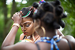 © Joel Goodman - 07973 332324 . 13/08/2016 . Manchester , UK . People getting their costumes ready for the annual Caribbean Carnival Parade through Hulme and Moss Side in South Manchester . Photo credit : Joel Goodman