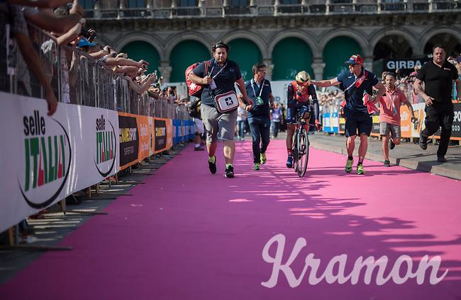 Vincenzo Nibali (ITA/Bahrain-Merida) escorted to the (final) podium after finishing the closing TT into Milano<br /> <br /> stage 21: Monza - Milano (29km)<br /> 100th Giro d'Italia 2017