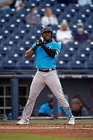 Miami Marlins Starling Marte (6) bats during a Major League Spring Training game against the Washington Nationals on March 20, 2021 at FITTEAM Ballpark of the Palm Beaches in Palm Beach, Florida.  (Mike Janes/Four Seam Images)