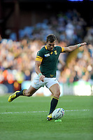 Man of the Match Handre Pollard of South Africa takes a penalty kick during Match 15 of the Rugby World Cup 2015 between South Africa and Samoa - 26/09/2015 - Villa Park, Birmingham<br /> Mandatory Credit: Rob Munro/Stewart Communications