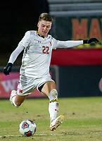 COLLEGE PARK, MD - NOVEMBER 15: Nick Richardson #22 of Maryland winds up for a shot during a game between Indiana University and University of Maryland at Ludwig Field on November 15, 2019 in College Park, Maryland.