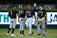 The Kannapolis Intimidators celebrate their win over the Augusta GreenJackets at SRG Park on July 6, 2019 in North Augusta, South Carolina. The Intimidators defeated the GreenJackets 9-5. (Brian Westerholt/Four Seam Images)