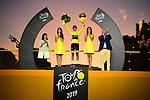 Egan Bernal (COL) Team Ineos wins the overall general classification Yellow Jersey on the final podium at the end of Stage 21 of the 2019 Tour de France running 128km from Rambouillet to Paris Champs-Elysees, France. 28th July 2019.<br /> Picture: ASO/Pauline Ballet   Cyclefile<br /> All photos usage must carry mandatory copyright credit (© Cyclefile   ASO/Pauline Ballet)