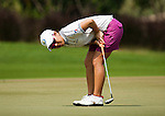 CHON BURI, THAILAND - FEBRUARY 16:  Mika Miyazato of Japan reacts to a putt on the 16th hole during day one of the LPGA Thailand at Siam Country Club on February 16, 2012 in Chon Buri, Thailand.  Photo by Victor Fraile / The Power of Sport Images
