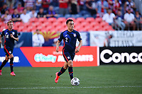 DENVER, CO - JUNE 3: Sergino Dest #2 of the United States dribbles with the ball during a game between Honduras and USMNT at EMPOWER FIELD AT MILE HIGH on June 3, 2021 in Denver, Colorado.