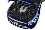 Car Stock 2017 Infiniti QX70 3.7 5 Door SUV Engine  high angle detail view