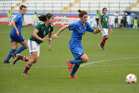 20190227 - LARNACA , CYPRUS : Mexican defender Rebeca Bernal (left) and Italian midfielder Valentina Bergamaschi (right) pictured during a women's soccer game between Mexico and Italy , on Wednesday 27 February 2019 at the Antonis Papadopoulos Stadium in Larnaca , Cyprus . This is the first game in group B for both teams during the Cyprus Womens Cup 2019 , a prestigious women soccer tournament as a preparation on the FIFA Women's World Cup 2019 in France and the Uefa Women's Euro 2021 qualification duels. PHOTO SPORTPIX.BE | STIJN AUDOOREN