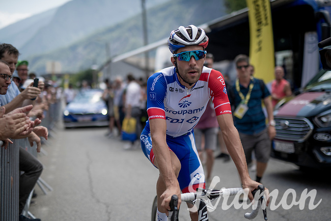 "Thibaut Pinot (FRA/Groupama-FDJ) cheered on at the race start in Saint-Jean-de-Maurienne > a stage he would abandon after 40 km due to ""a muscular lesion on his left thigh"" <br /> <br /> Stage 19: Saint-Jean-de-Maurienne to Tignes (126km)<br /> 106th Tour de France 2019 (2.UWT)<br /> <br /> ©kramon"