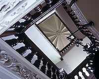View looking up to the gothic ceiling of the Staircase Hall