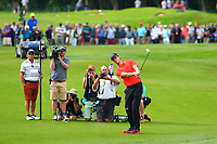 Thomas Pieters chips onto the 18th green during the BMW PGA Golf Championship at Wentworth Golf Course, Wentworth Drive, Virginia Water, England on 27 May 2017. Photo by Steve McCarthy/PRiME Media Images.