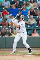 Michael Marjama (8) of the Winston-Salem Dash at bat against the Carolina Mudcats at BB&T Ballpark on June 6, 2014 in Winston-Salem, North Carolina.  The Mudcats defeated the Dash 3-1.  (Brian Westerholt/Four Seam Images)