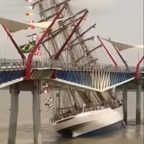The tall ship Cisne Branco collides with a bridge over the Guayas River in Ecuador